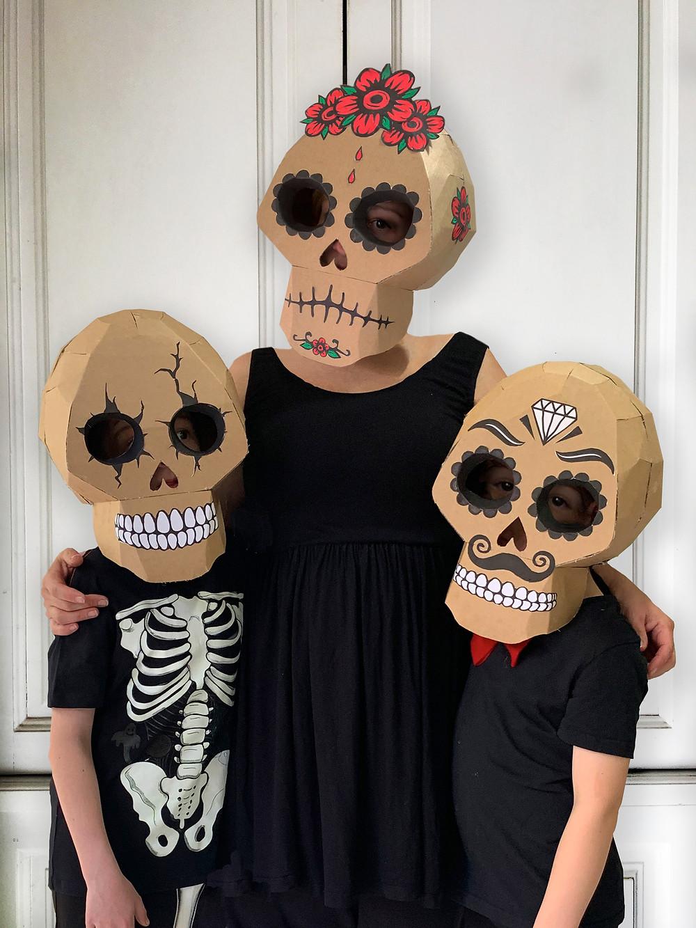 Cardboard skull costume Day of the Dead