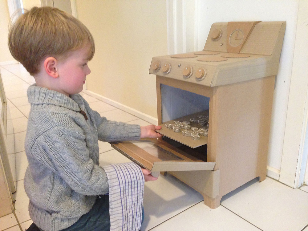 DIY Cardboard Play Oven for Kids