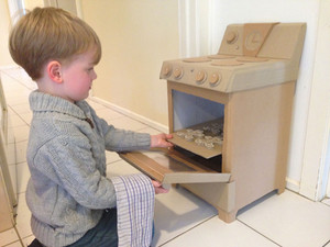 Cardboard toy oven