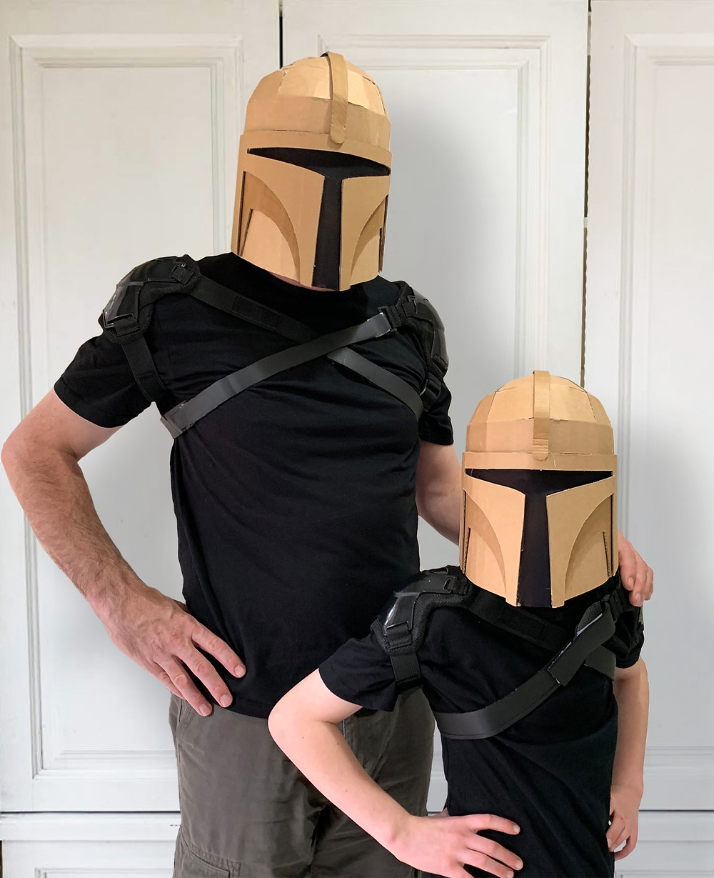 Bounty Hunter helmet made out cardboard from a downloadable template from Zygote Brown Designs