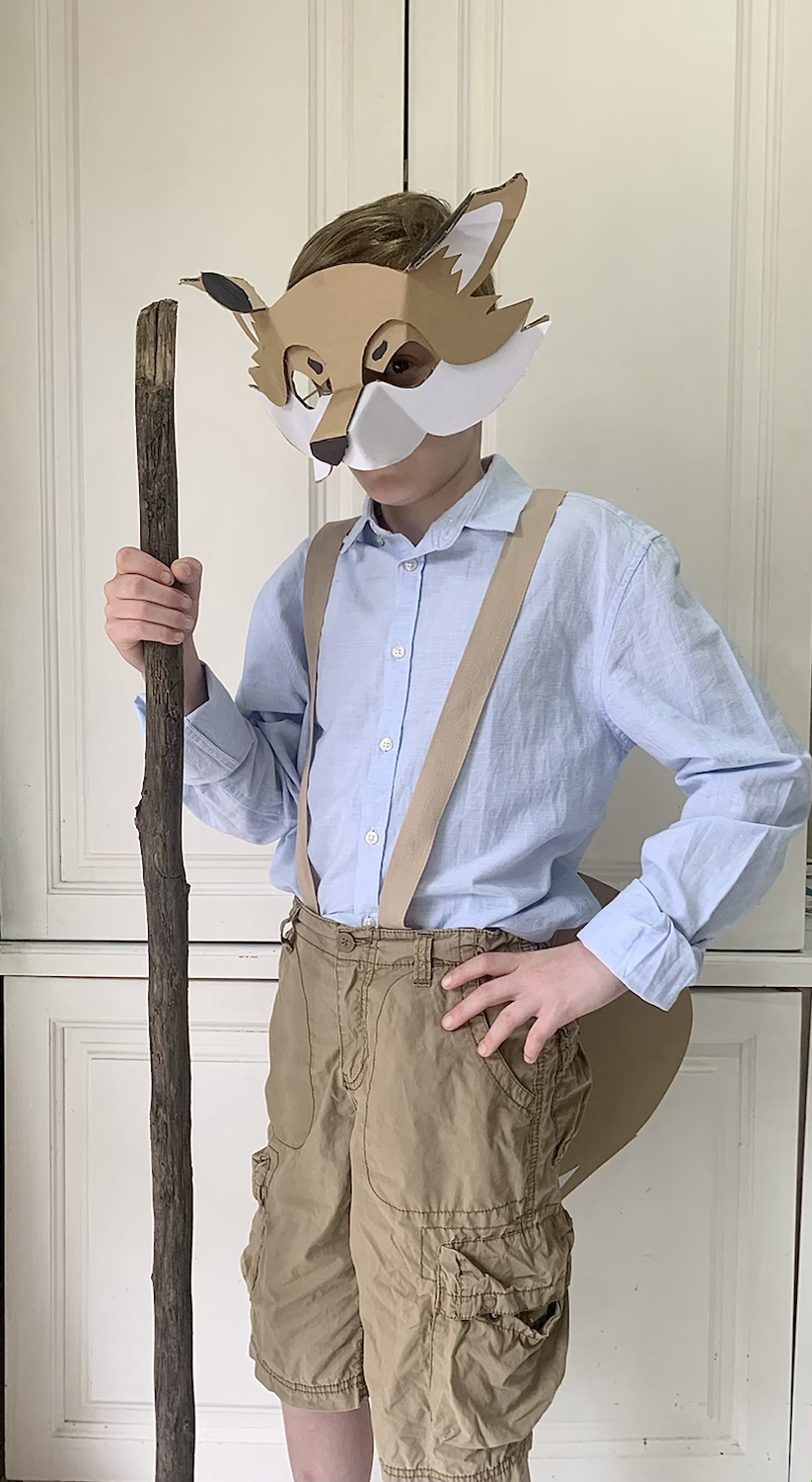 Clever Mr Fox costume made from cardboard