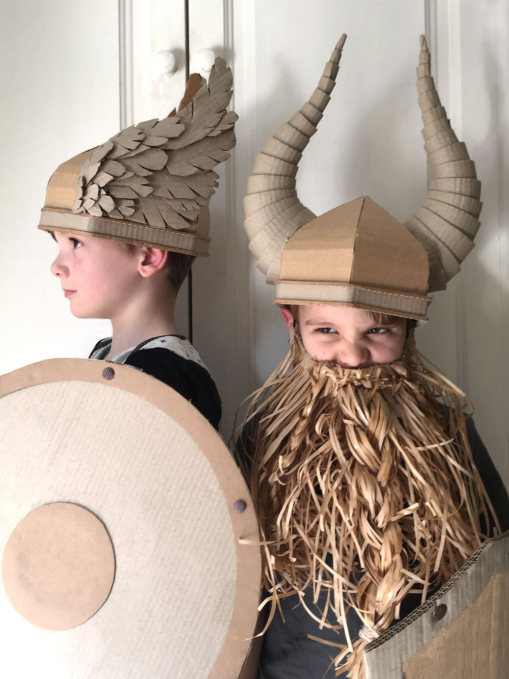 DIY Cardboard Costume Viking Helmet with Horns wings and horns