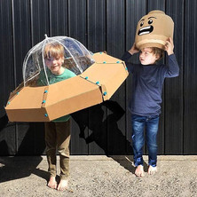 Cardboard UFO and Brickhead Costume