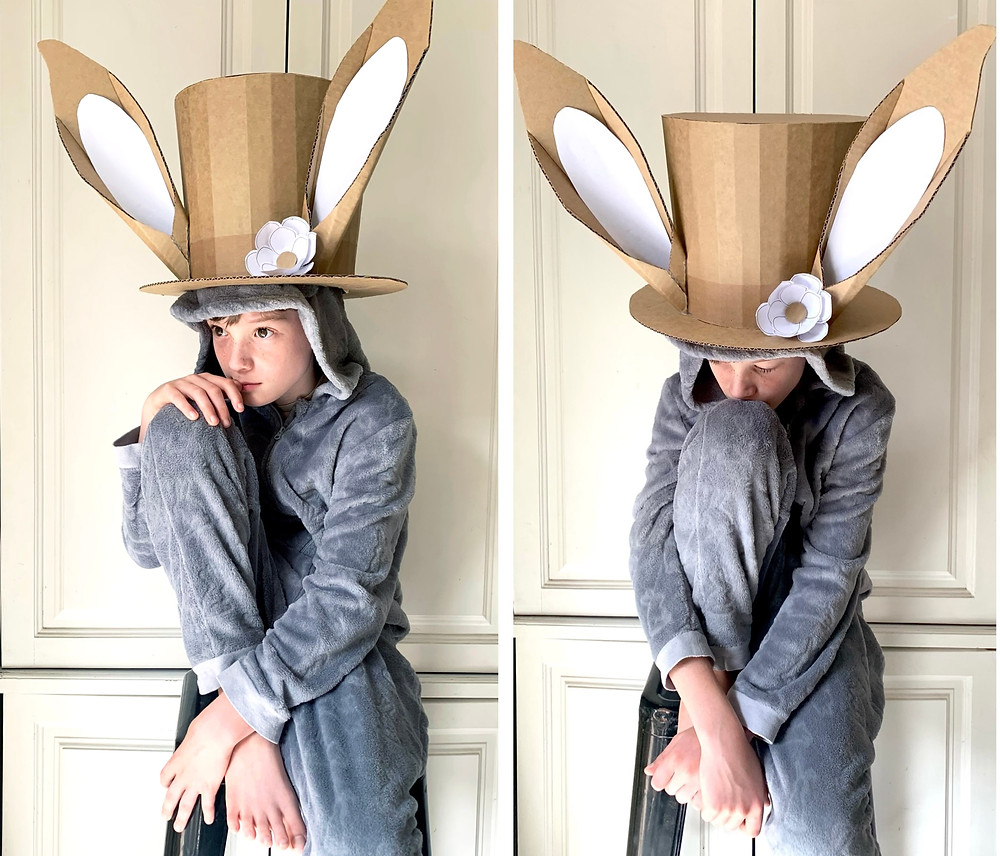 Cardboard Easter Bunny Top hat with ears