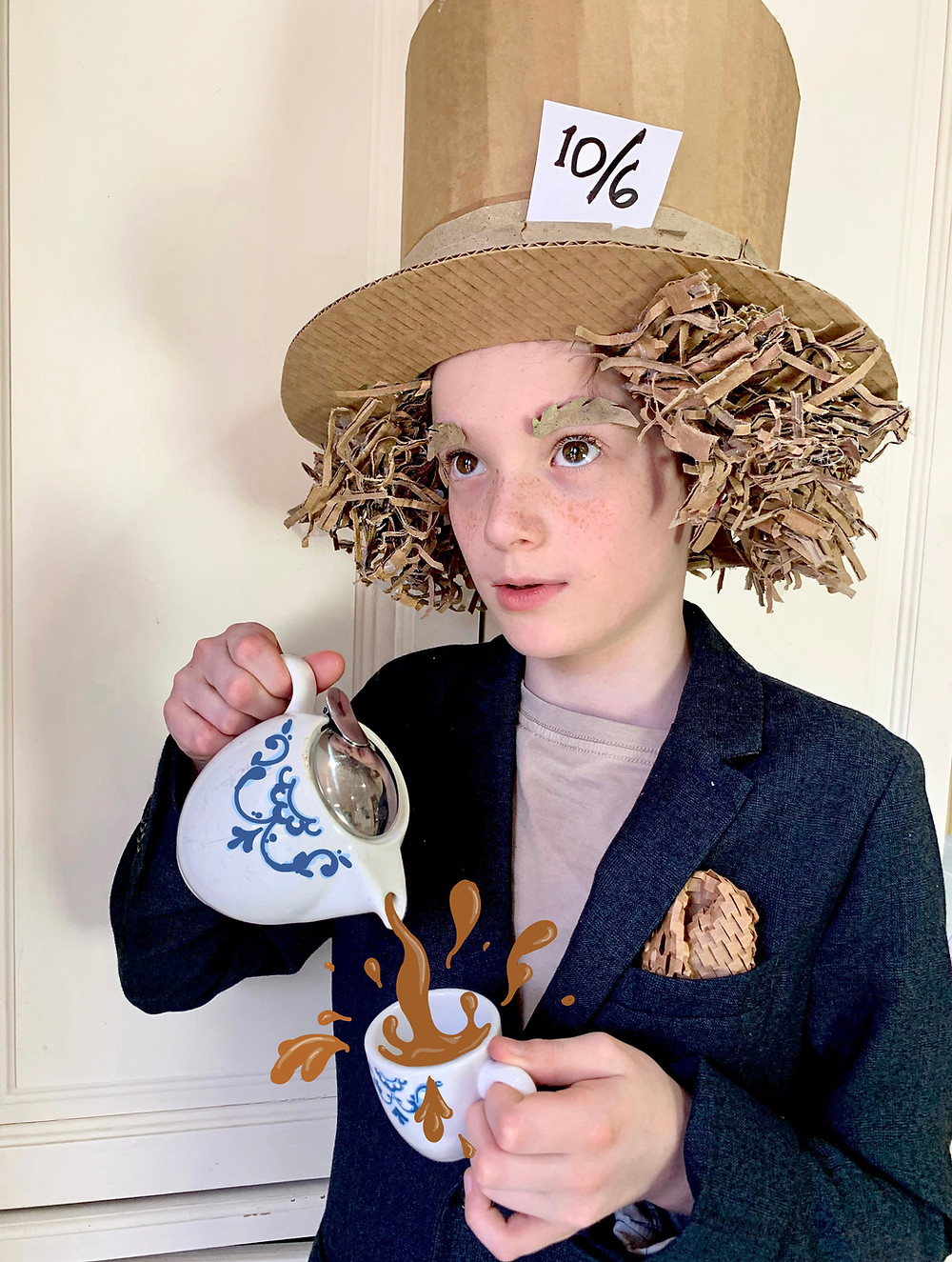 A Mad Hatter cardboard costume made from a downloadable template