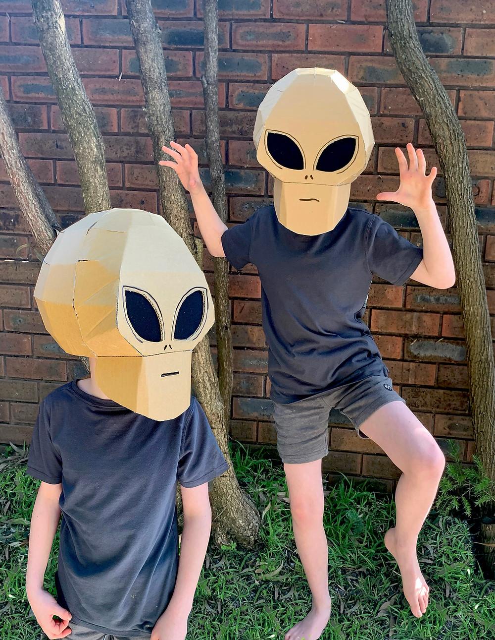 DIY Cardboard Alien mask costume for Halloween