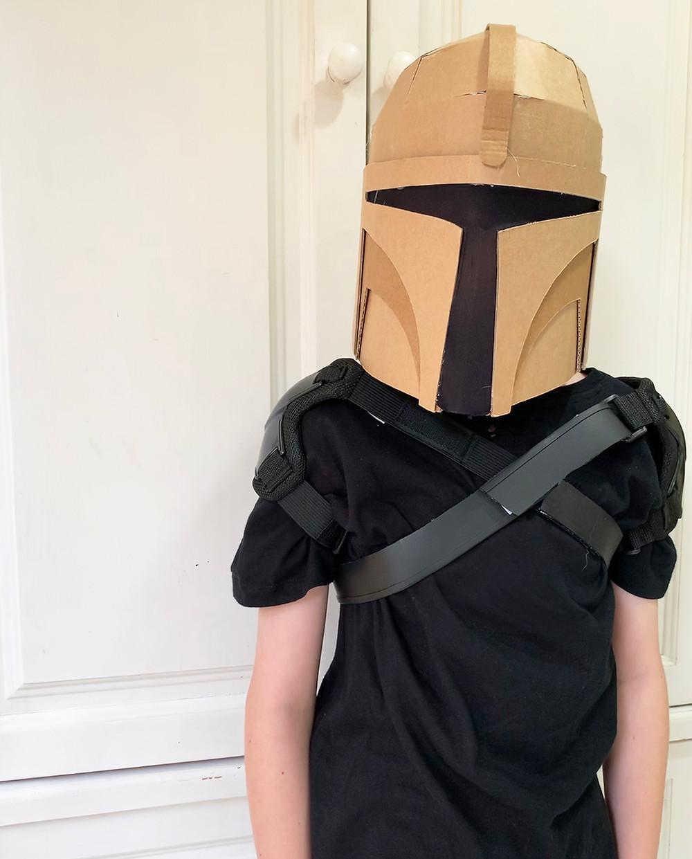 kids cardboard bounty hunter helmet made from a digital template.