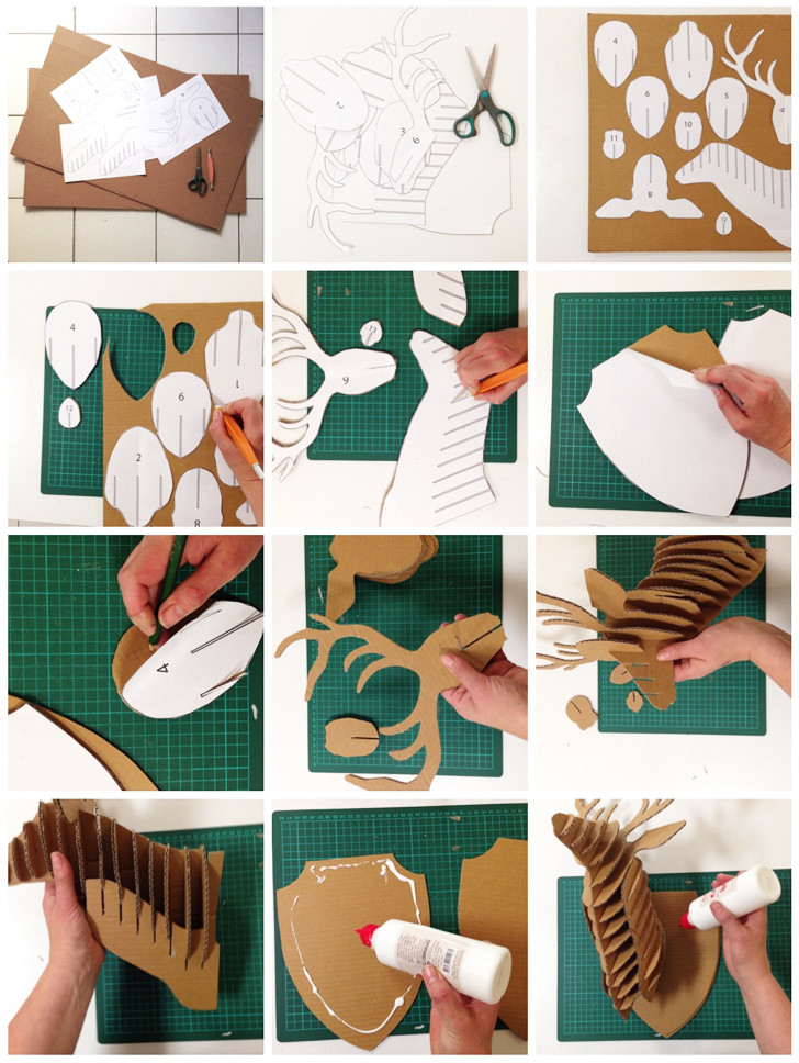 Cardboard Deer Head Bust Instructions