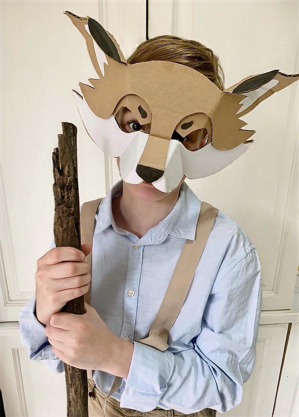 Kids cardboard Fantastic Mr Fox Costume