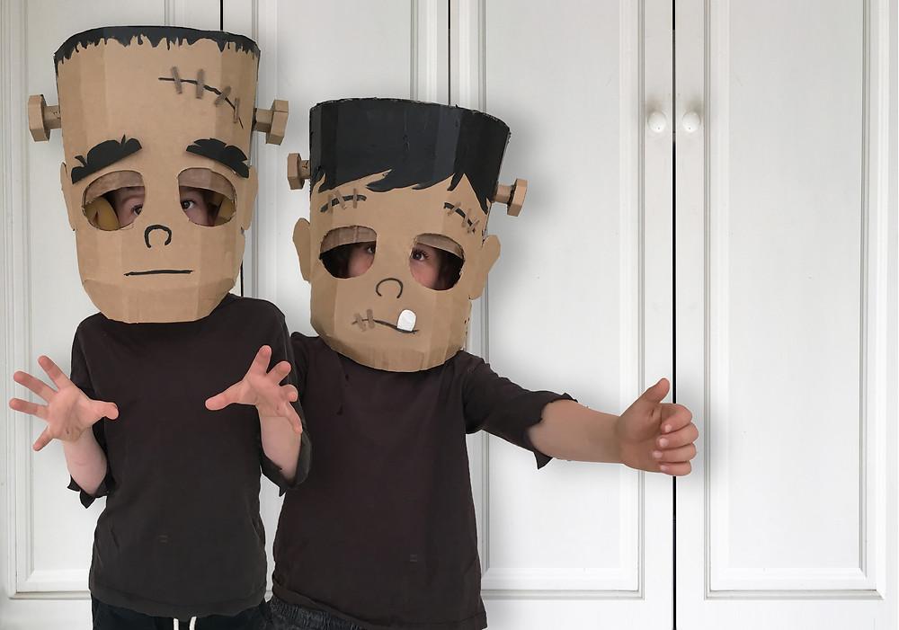DIY CARDBOARD FRANKENSTEIN HEAD COSTUME
