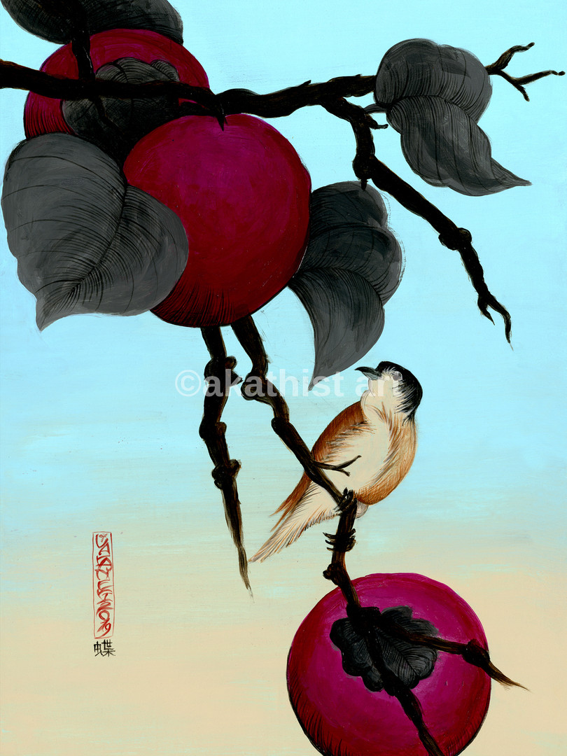 bird with plums