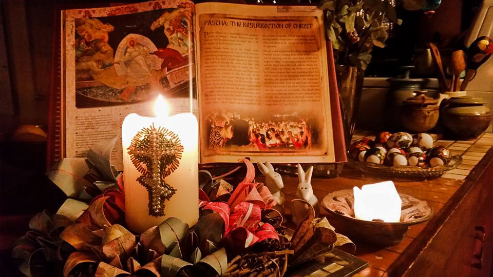 Pascha candle, lilies, eggs.jpg