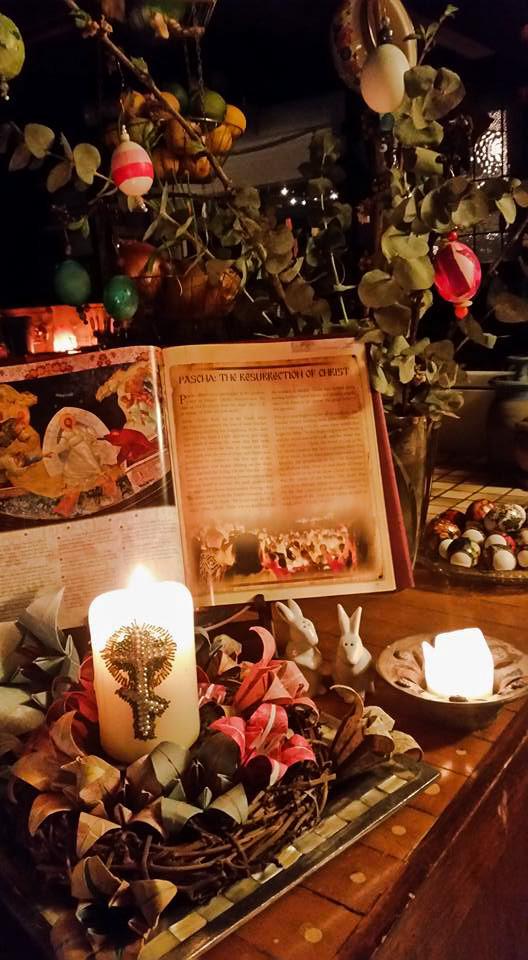 Pascha tree, candle, lilies.jpg