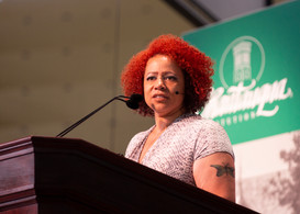 Nikole Hannah-Jones discusses racial injustice stemming from the end of slavery, as well as from slavery itself at Chautauqua Institution Wednesday, June 26, 2019