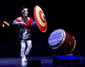 Chikako Saito, of Japanese drum group Taikoza, performs Taiko dance at the Chautauqua Institution Tuesday, August 6, 2019