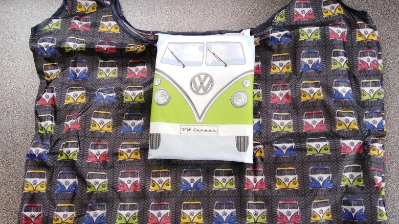 VW Campervan Folding Shopping Bag - Black