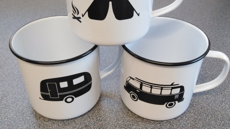 Retro Enamel Metal Mugs - VW Campervan, Tent or Caravan