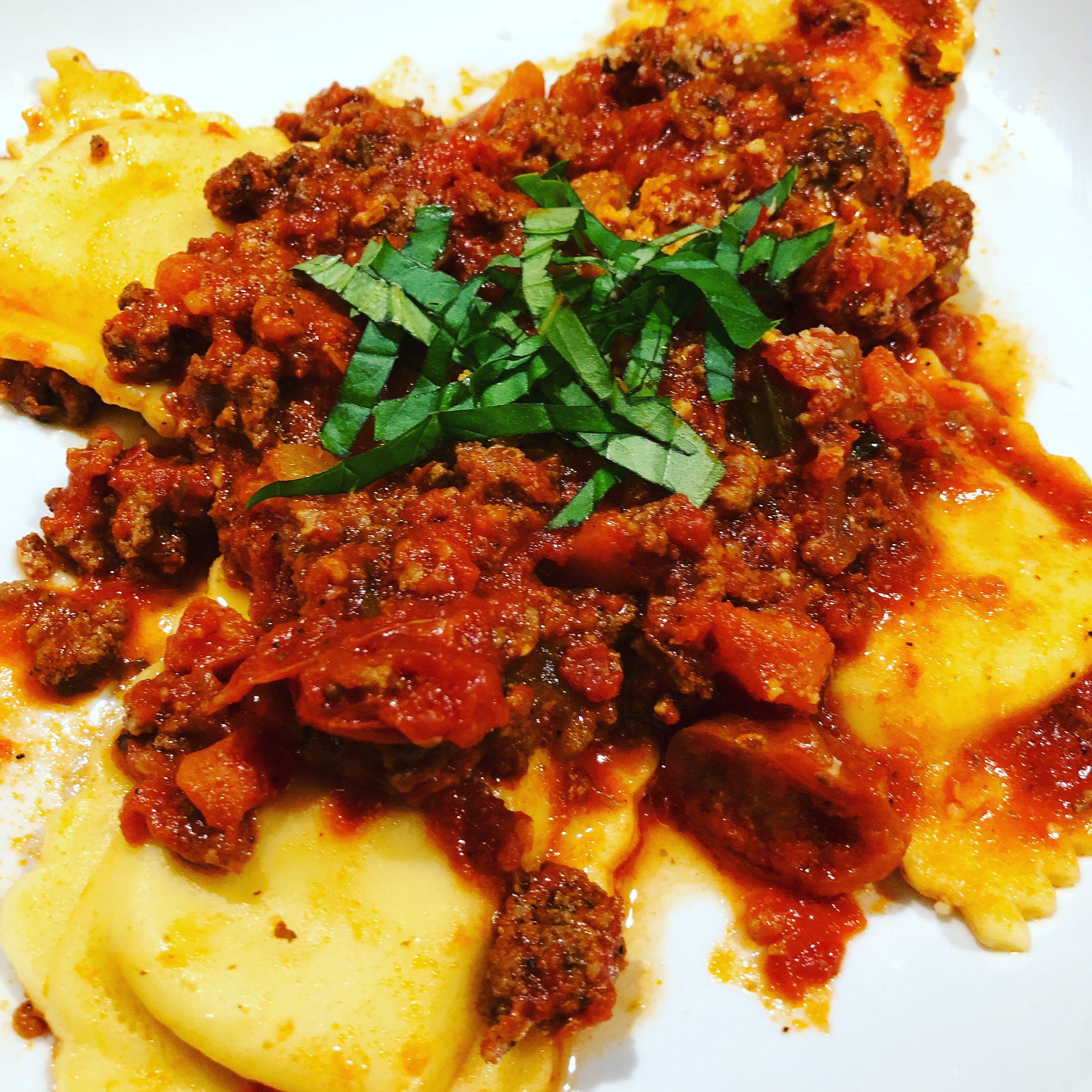 Ravioli with Bolognese