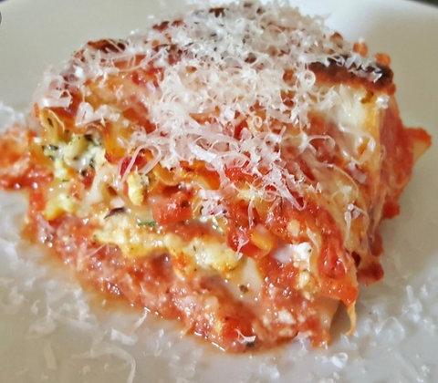 Ricotta, Romano, and Mozzarella Lasagna