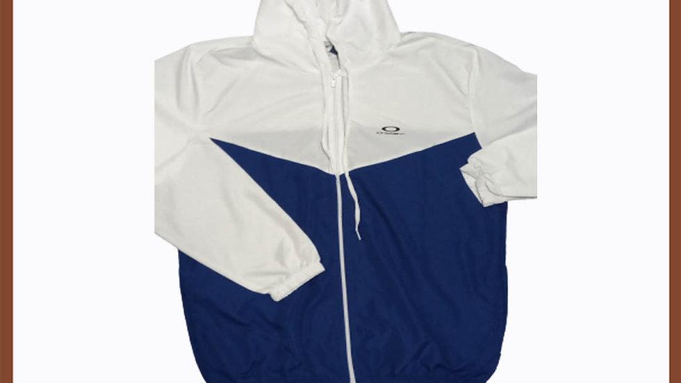Casaco Corta vento single griffe Oakley azul com branco