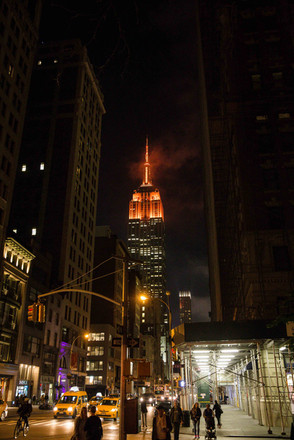 The Empire State Building lit orange for the Food Bank for Ne