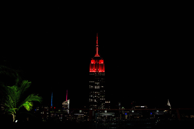 The Empire State Building lit red for DKMS