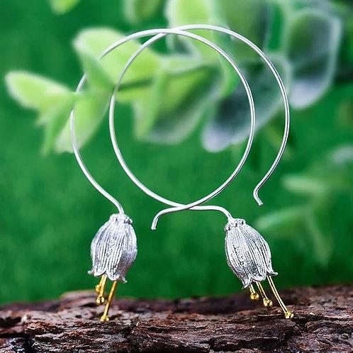 Bellflower Large Hoop Silver Earrings