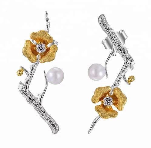 Beauty Silver Earrings Branch