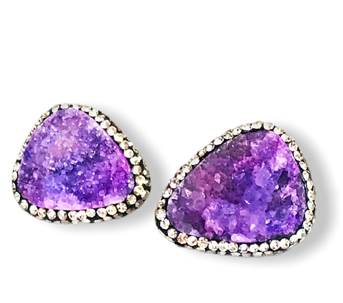 Purple Agate Statement Earrings