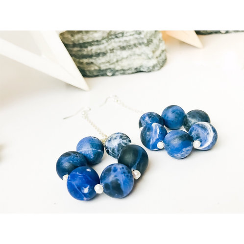 Blue Sodalite Statement Earrings