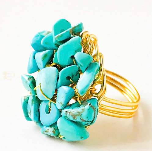 Turquoise Chips Ring