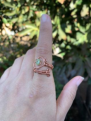 Peridot Healing Heart Adjustable Ring