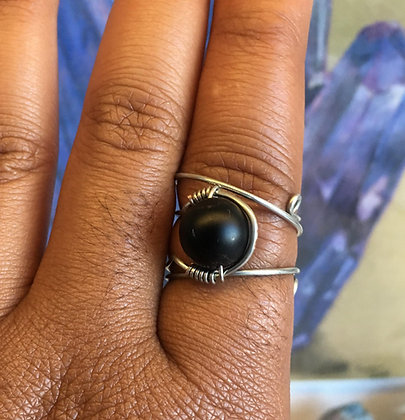 Black Onyx Adjustable Ring