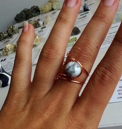 Howlite Adjustable Ring