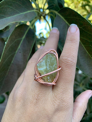 Green Calcite Adjustable Ring