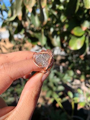 Blue Fluorite / Pyrite Adjustable Ring 01