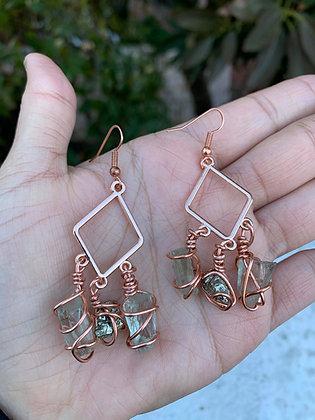 Green Amethyst & Pyrite Earrings