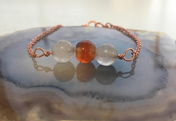 Clear Quartz & Carnelian Adjustable Bracelet