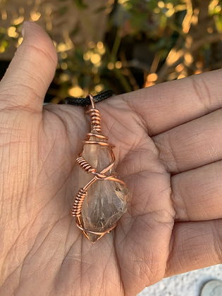Etched Smoky Quartz Necklace