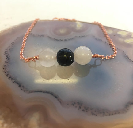 Clear Quartz & Obsidian Adjustable Bracelet