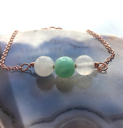 Clear Quartz & Aquamarine Adjustable Bracelet