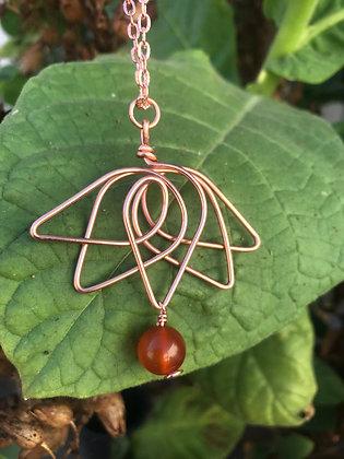 Carnelian Lotus Flower Necklace