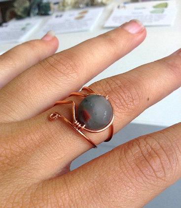 Bloodstone Adjustable Ring
