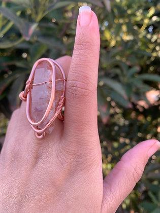 Peach Quartz Adjustable Ring