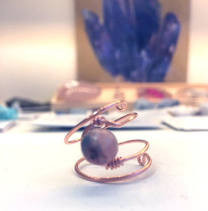 Lepidolite Adjustable Ring