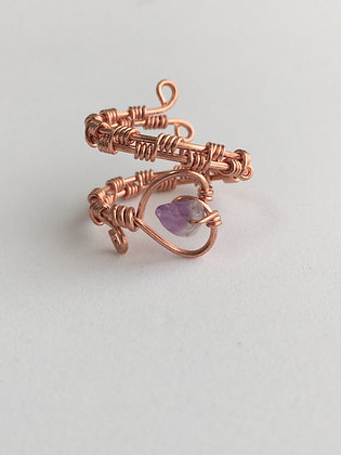 Amethyst Healing Heart Ring