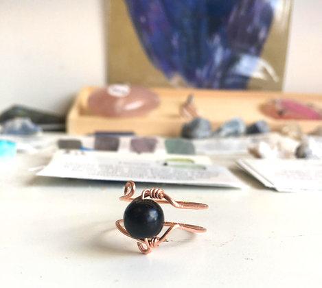 Obsidian Adjustable Ring
