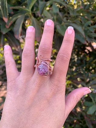 Pink Tourmaline Adjustable Ring