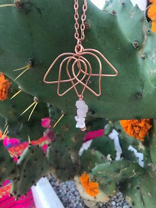 Rose Quartz Lotus Flower Necklace
