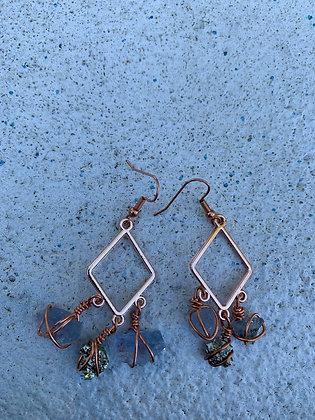 Blue Fluorite & Pyrite Earrings 01